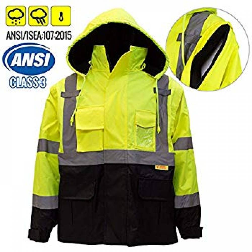 Safety Bomber Jacket with Quilted Lining, Hi-Vis Lime, X-Large