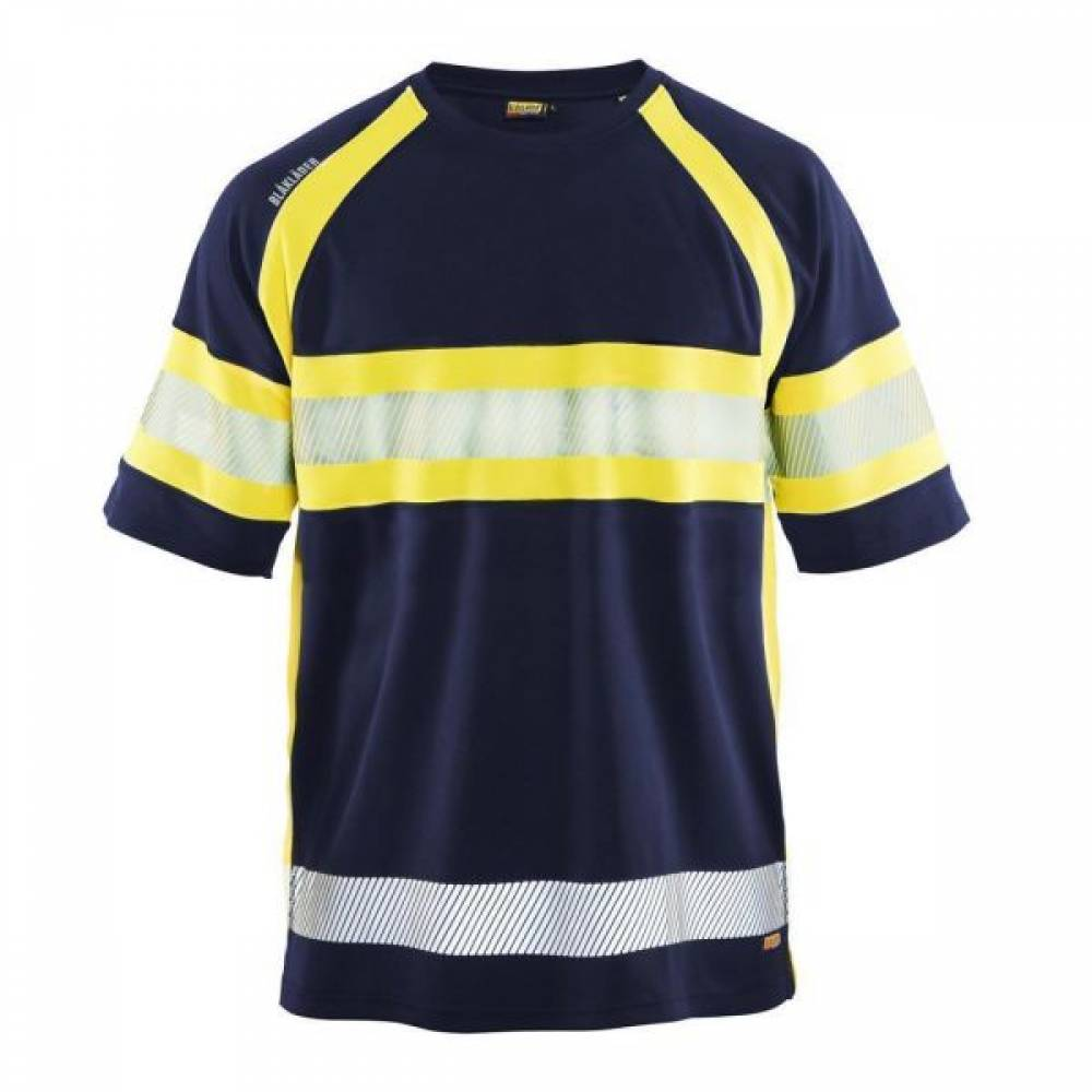Tee shirt with hi vis contrest