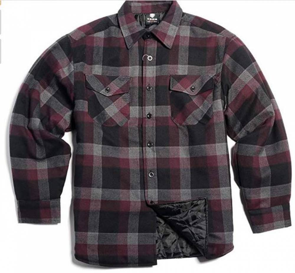 Men's Quilted Lining Button Up Plaid Flannel Shirt Jacket with Side Pockets